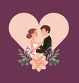 couple wedding day flowers in heart love vector image vector image