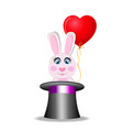 cute cartoon pink rabbit with balloon sitting in vector image