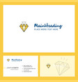 diamond logo design with tagline front and back vector image