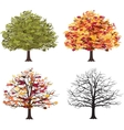 Different seasons of art tree vector image vector image