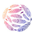 ethnic feathers round colored emblem vector image