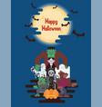 halloween characters under moon vector image vector image