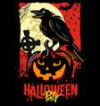 halloween pumpkin with raven vector image vector image