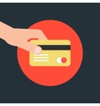 hand holding credit card in red circle vector image vector image