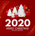 happy new 2020 year greetings with 3d fir trees vector image vector image
