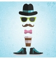 Hipster man with hat glasses bow coffee vector image vector image