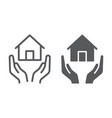home insurance line and glyph icon estate and vector image vector image