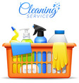 Household Cleaning Products In Basket vector image