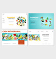 isometric bank websites set vector image vector image
