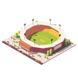 isometric low poly cricket stadium vector image vector image