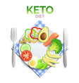 keto diet plate with healthy food avocado vector image