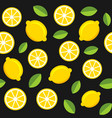 lemon fruits seamless pattern on dark background vector image vector image