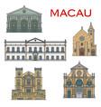 macau landmark buildings portuguese architecture vector image