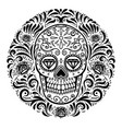mexican sugar skulls with floral pattern vector image vector image