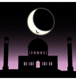 mosque silhouette in night sky with vector image vector image