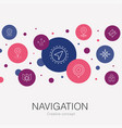navigation trendy circle template with simple vector image