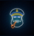 neon old sailor captain with tobacco pipe hipster vector image vector image