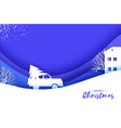 origami paper cut car with christmas tree on blue vector image vector image