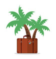 palm tree with suitcase vacation vector image vector image