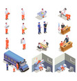 prison jail isometric icons vector image