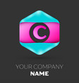 realistic letter c logo in colorful hexagonal vector image vector image