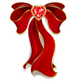 red bow with ruby with heart vector image vector image