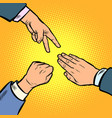 rock paper scissors game is a hand gesture vector image vector image