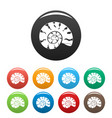 round shell icons set color vector image vector image