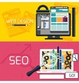 SEO optimization and web design banners vector image vector image