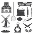 set bakery equipment icon silhouette vector image