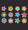 set colorful 3d flowers sakura vector image vector image