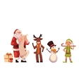 Set of Santa Claus reindeer snowman and elf vector image