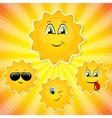 Set of sun smileys vector image