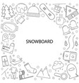 snowboard background from line icon vector image vector image
