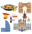 spain main attractions set collection vector image vector image