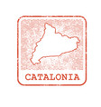 stamp with contour of map of catalonia vector image vector image