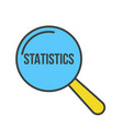 statistics word magnifying glass vector image