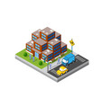 the isometric city with skyscraper from vector image vector image