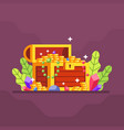 treasure chest with lot coin and diamond with vector image