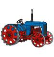 Vintage blue tractor vector image vector image