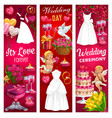 wedding bride and groom rings cake gift bouquet vector image