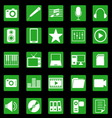 Media icons on green button vector image