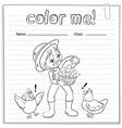 A worksheet with a farmer vector image vector image