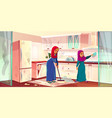 arabian ladies wash kitchen servants vector image