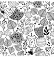 black and white endless wallpaper with cute birds vector image