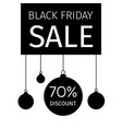 black friday banner with hanging christmas balls vector image