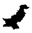 black silhouette country borders map of pakistan vector image