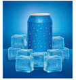 blue aluminum tin cans in ice cubes vector image
