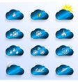 Blue Clouds with Weather Signs vector image