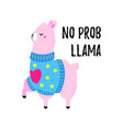 cartoon card cute poster with funny llama vector image vector image
